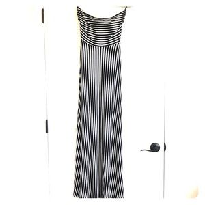 Striped fitted maxi dress with cutout strappy back